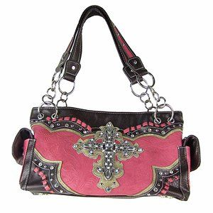 Conceal carry shoulder bag HOT PINK WESTERN STONE